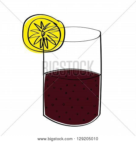 A glass half full or half empty of cola, depending on your point of view. With offset color for effect