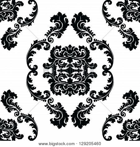 Vector floral damask pattern background. Luxury classic floral damask ornament royal Victorian vintage texture for wallpapers textile fabric. Black Floral baroque element