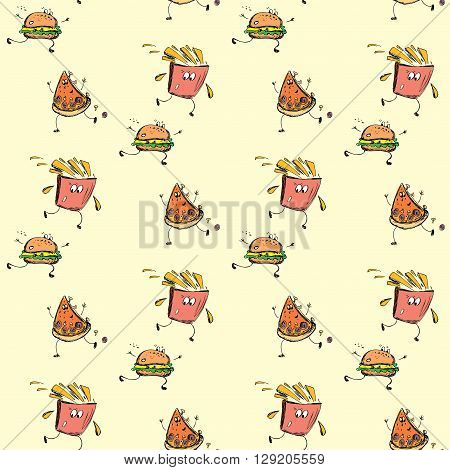 fast food seamless pattern hand drawing vector illustration