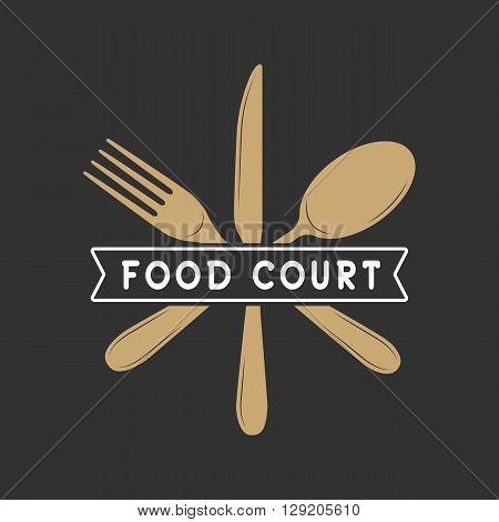 Vintage restaurant or food court logo badge and emblem in retro style. Vector Illustration