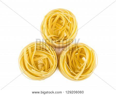 Pasta In Form Nest Isolated On White