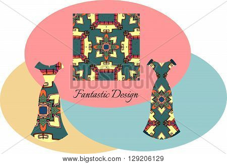 Beautiful card with ornamental female dresses. Fantastic design. Fashion vector illustration.