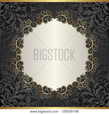 antique background with golden frame - vector illustration