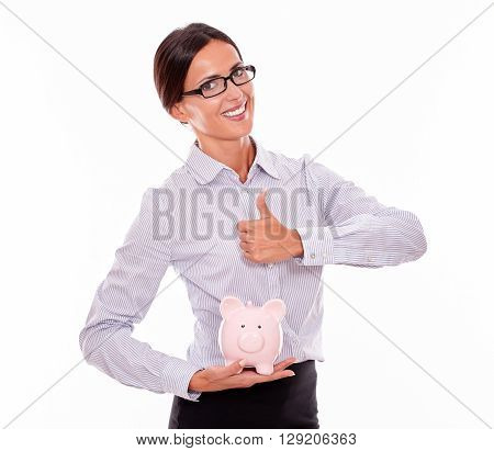 Businesswoman Holding Pink Porcelain Piggy Bank
