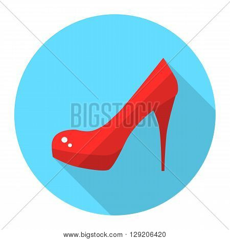 Woman high heel shoes vector flat icon with long shadow. Red stiletto heels.