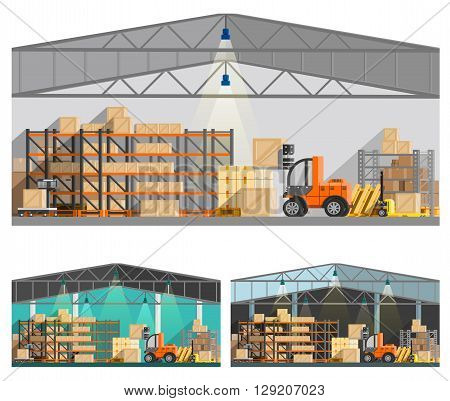 Warehouse and storage orthogonal compositions set with roof and lamps flat isolated vector illustration