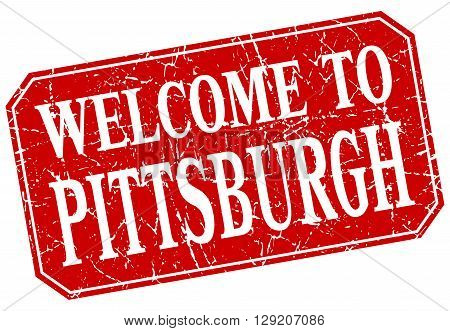 welcome to Pittsburgh red square grunge stamp