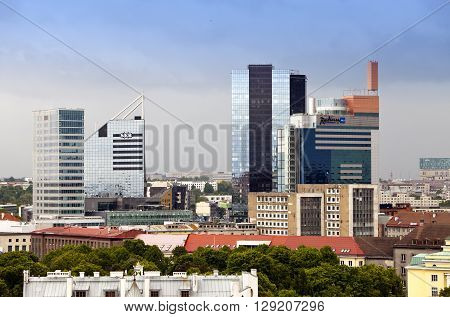 TALLINN ESTONIA- JUNE 17: View of the high-rise hotels adjoining the Old city on June 17 2012 in Tallinn Estonia