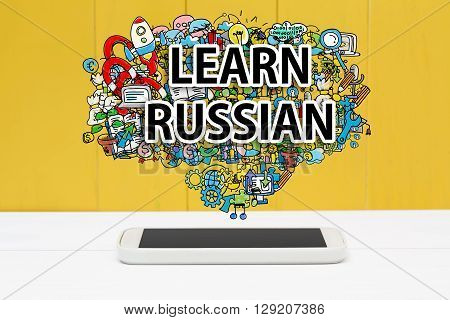 Learn Russian Concept With Smartphone