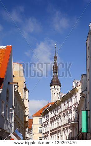 Old city Tallinn Estonia. Old houses on the street and a town hall tower.