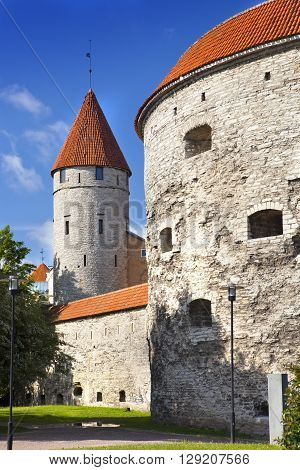 fortification towers tower Fat Margarita in the foreground Tallinn Estonia