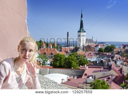 The attractive woman on an observation deck in Tallinn