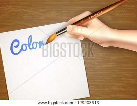 Easel with paper sheet and human hand holding synthetic brush design concept in realistic style vector illustration