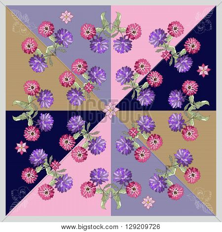 Beautiful bandana print or silk neck scarf with hand drawn flowers. Kerchief square pattern design style for print on fabric. Vector illustration