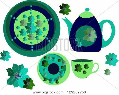 Beautiful collection of crockery. Two plates teapot and teacup with flowers. Vector illustration.