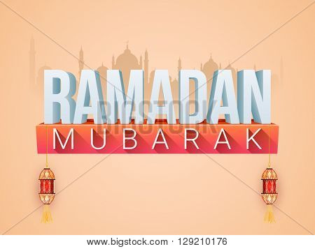 Stylish 3D text Ramadan Mubarak on Mosque silhouetted background for Holy Month of Muslim Community celebration.