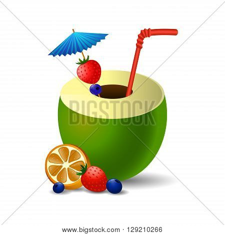 Fresh drinking coconut with a straw, cocktail umbrella and d fruits and berries