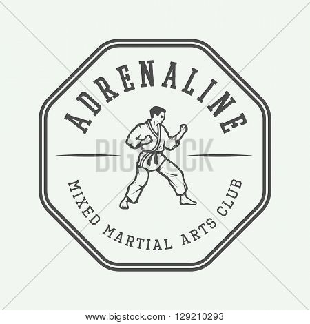 Vintage karate or martial arts logo emblem badge label and design elements. Vector illustration