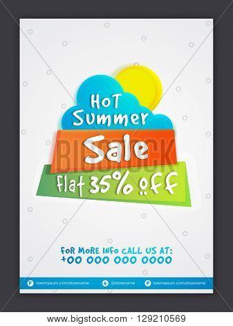 Hot Summer Sale Tag, Sale Poster, Sale Banner, Sale Flyer, Flat 35% Off, Creative vector illustration.