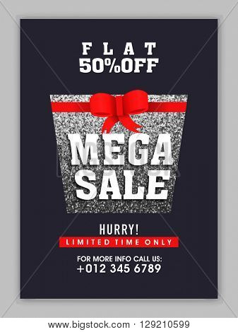 Mega Sale Poster, Sale Banner, Sale Flyer, Flat 50% Off for limited time, Vector illustration of silver glittering gift box with red ribbon.