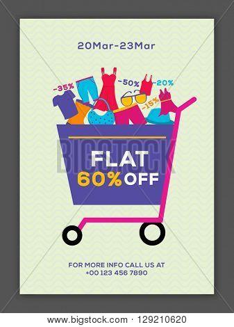 Sale Poster, Sale Banner, Sale Flyer, Flat 60% Discount, Limited Time Offer, Vector illustration.