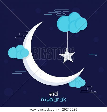 Muslim Community Festival, Eid Mubarak celebration with crescent Moon and Stars on creative clouds decorated blue background.