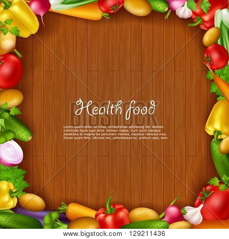 Health food background with colorful fresh vegetable frame containing decorative elements of tomatoes onion carrots garlic potatoes cucumbers realistic signs vector illustration