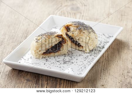 austrian yeast dumplings with jam on wood