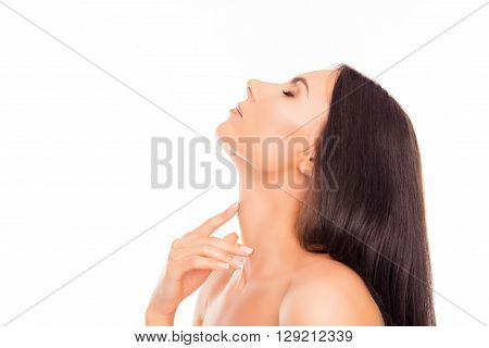 Side View Photo Of  Attractive Sensitive Woman Touching Her Neck