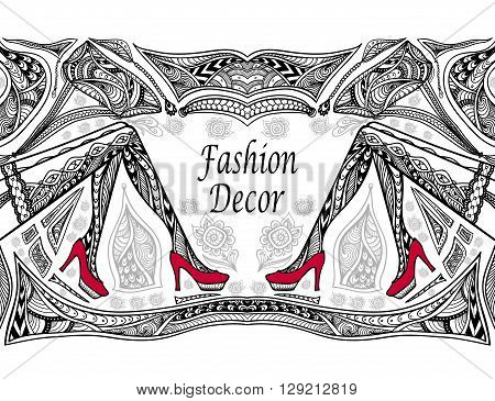 Concept fashion decoration with  Zen-doodle Zen-tangle  pattern black on white for coloring page or coloring book or wallpaper or for decorate package clothes or advertising fashion shop