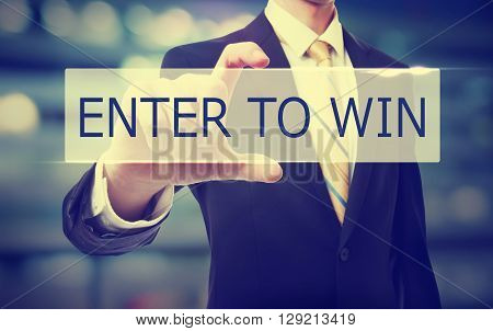 Business Man Holding Enter To Win