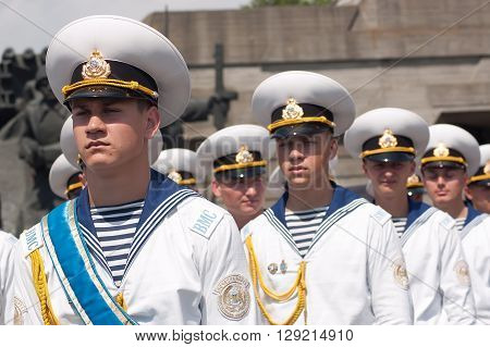 Kyiv, Ukraine - May 8, 2009: Young navy cadets stand in formation as a guard of honor at Victory Day celebration at the Museum of The History of Ukraine in World War II in Kyiv