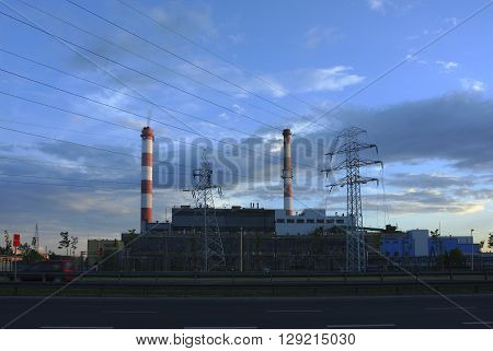 Industrial power plant with smokestack industrial landscape