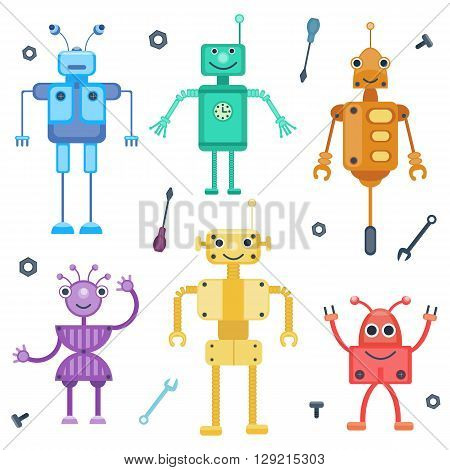 Set of colorful robots. Retro robots by flat cartoon style. Vector illustration. Toy collection for children, boys