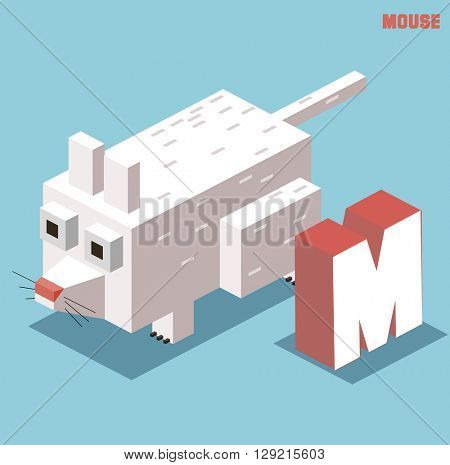 M for mouse, Animal Alphabet collection. vector illustration