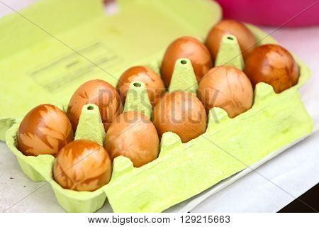 Onion Dyed Easter Eggs In Carton