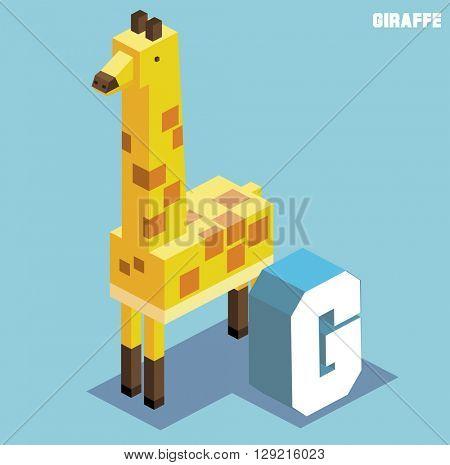 g for giraffe, Animal Alphabet collection. vector illustration