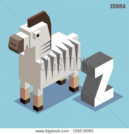 Z for Zebra. Animal Alphabet collection. vector illustration