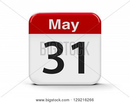 Calendar web button - The Thirty First of May - World No Tobacco Day three-dimensional rendering 3D illustration