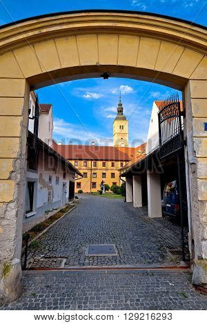 Old stees of baroque town of Varazdin northern Croatia