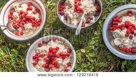 hikers breakfast porridge with raspberry on background of green grass