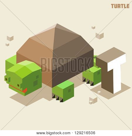 T for turtle, Animal Alphabet collection. vector illustration