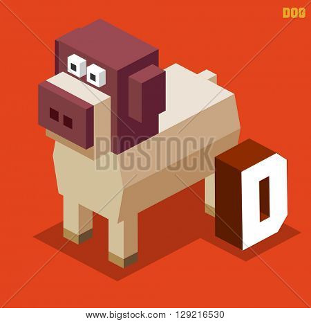 D for Dog. Animal Alphabet collection. vector illustration