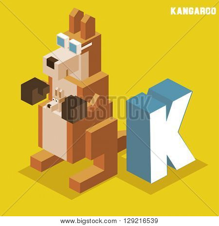 K for Kangaroo. Animal Alphabet collection. vector illustration