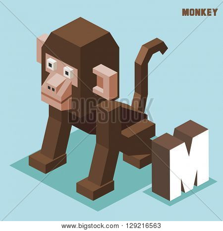 M for monkey. Animal Alphabet collection. vector illustration