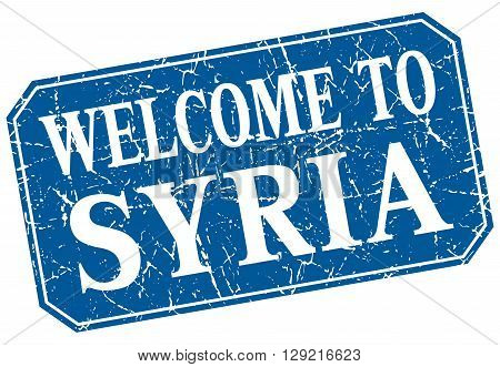 welcome to Syria blue square grunge stamp