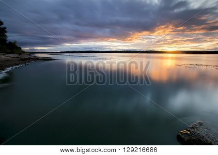 Sunset over the river Volga in Russia