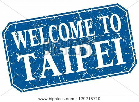 welcome to Taipei blue square grunge stamp