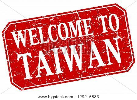 welcome to Taiwan red square grunge stamp