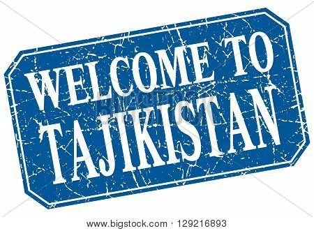 welcome to Tajikistan blue square grunge stamp